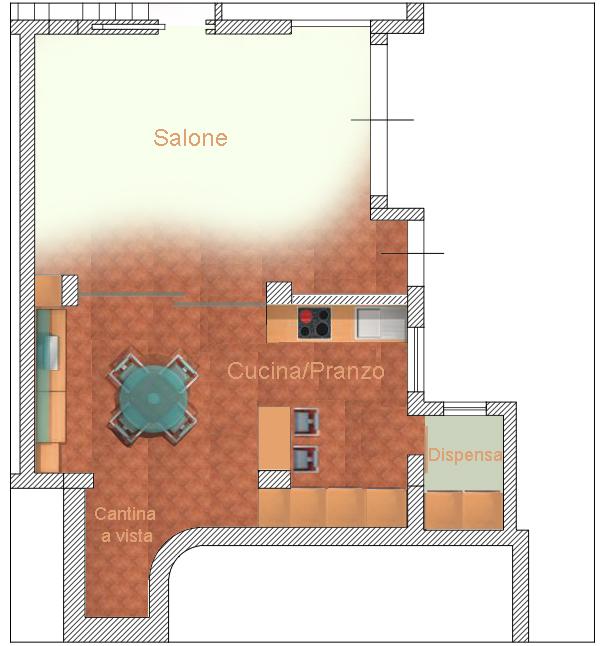 come organizzare un ingresso : Come organizzare un soggiorno cucina salone open space Archistyle